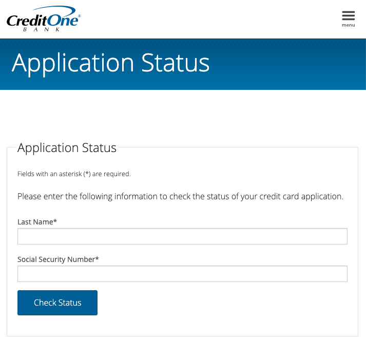 Credit One Application Status